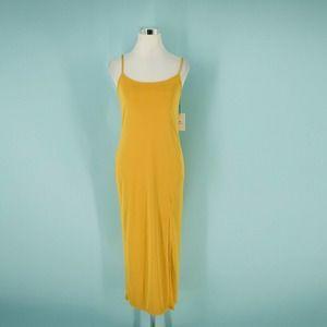 Something Navy XS Yellow Knit Midi Dress NWT